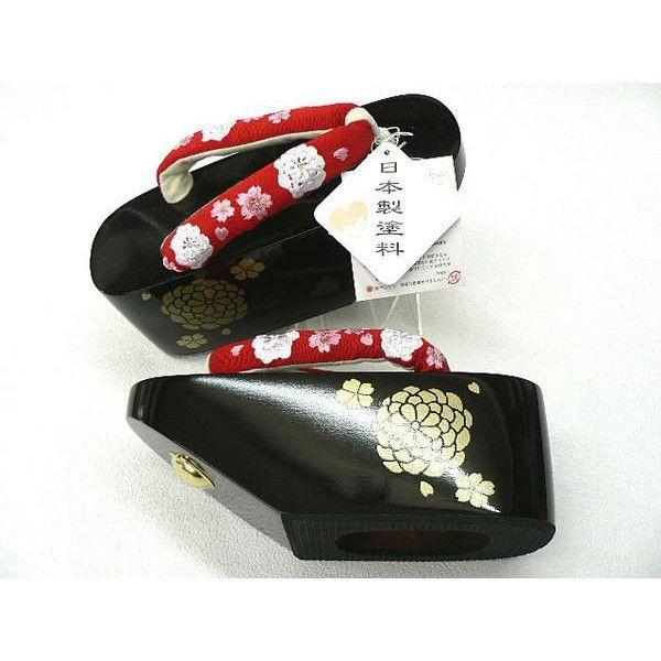 花魁(おいらん)の雰囲気・ こっぽり ・丸菊プリント・黒塗台・赤鼻緒