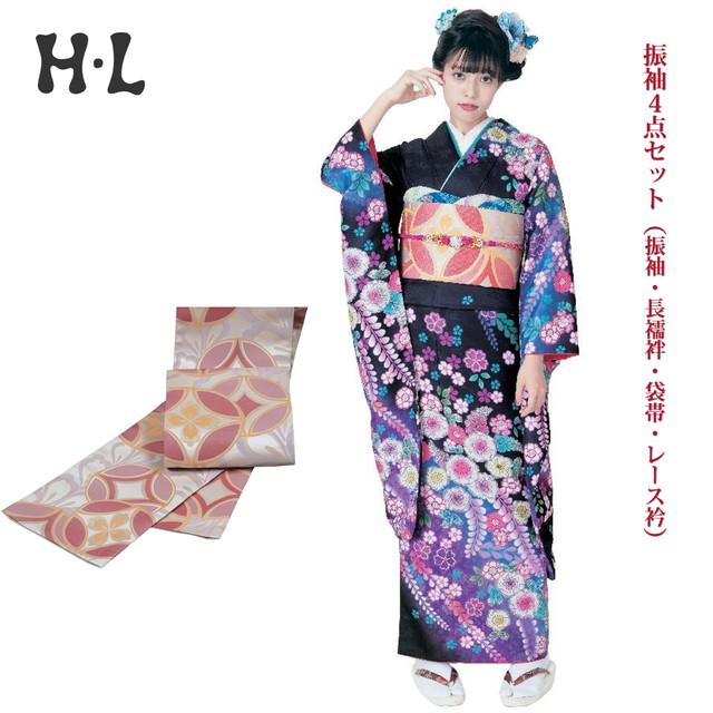 振袖4点セット(振袖・長襦袢・袋帯・レース衿) ブランド H・L(アッシュエル) No.16