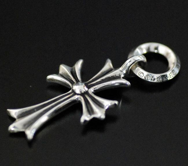 铬,铬心十字小 CH & 净正面 30 英寸的球链吊坠项链