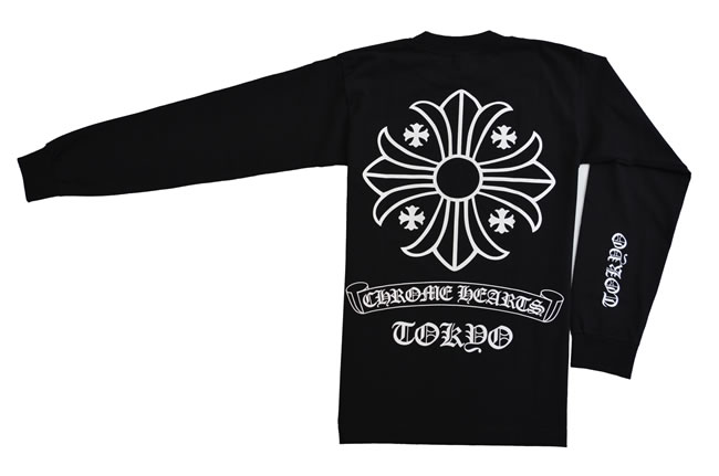 b142fb60f543  Free shipping    Real  genuine   New   Tokyo limited edition  ◇ chrome   CHROME  HEARTS ◇ men s long-sleeved long tee shirt ◇ L  size ◇ Black