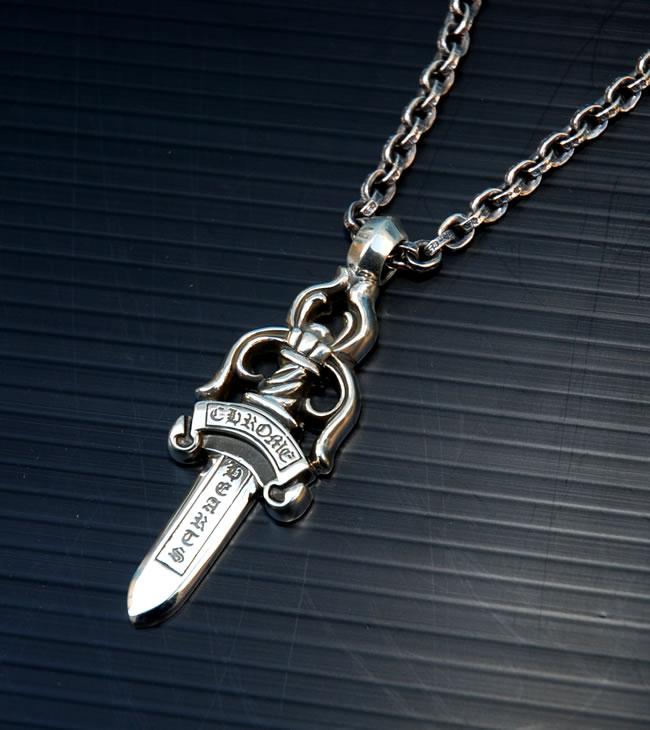 铬 / 铬心 ◆ CH ダガーペンダントラージ & ペーパーチェーンネックレス 20 英寸 / 真正 30 英寸的球链套