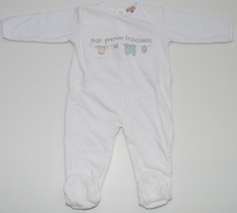 ◆ 德 ble (Z 法国儿童衣服情侣) ◆ 宝贝 ◆ 连裤 ◆ 粒度: 美国 12 米 (12 个月,74 厘米) ◆ 颜色: 白色