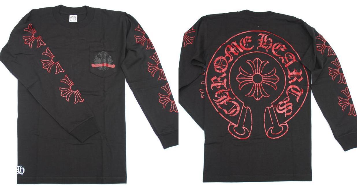 4c193672f38 Chrome   CHROME HEARTS ◇ men long T shirts ◇ M size ◇ black x red black x  Red