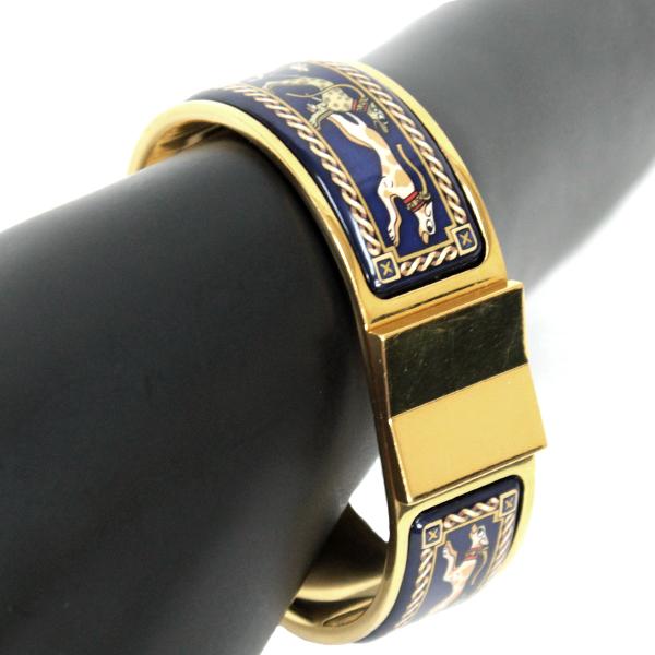 HERMES エルメス ブレスレット バングル 真鍮 ゴールド×ブルー ゴールド金具【送料無料】【中古】【心斎橋店_29348B】