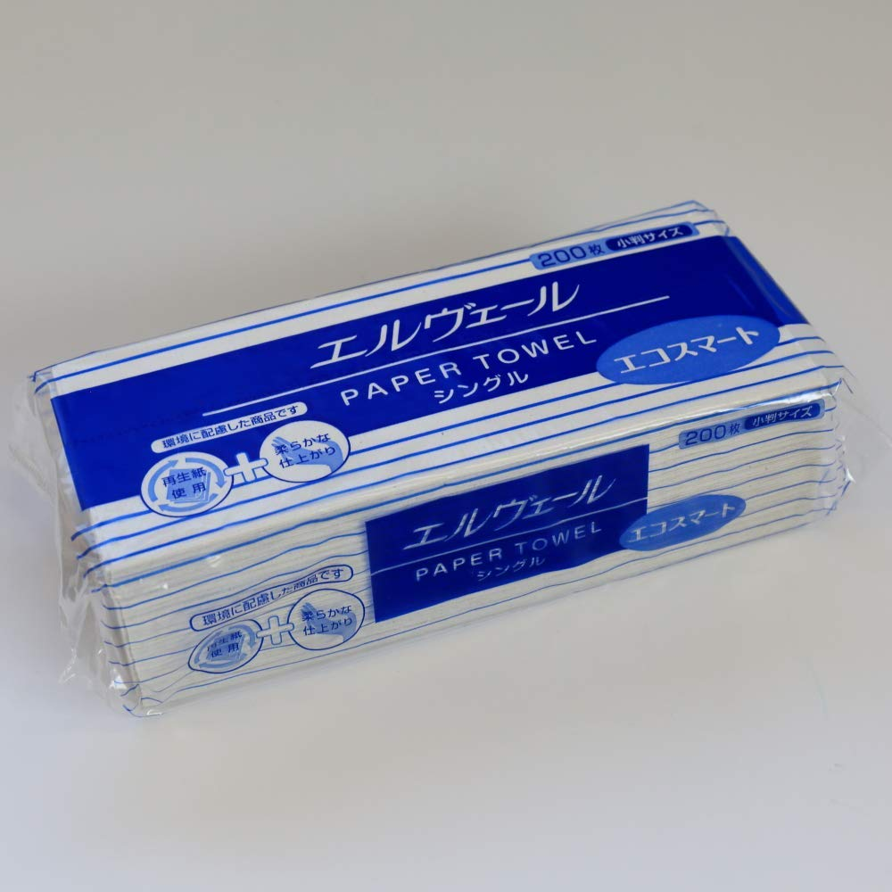 送料無料 一部地域を除く 1ケースまとめ買い42袋 大王製紙 正規品送料無料 Nエルヴェールペーパータオル エコスマートシングル 200枚 小判 日本製