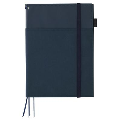 ノートはもっと、賢く使える。ノート+スケジュール帳など仕事の記録を一括管理できる2冊収容タイプのカバーノート カバーノート(2冊収容・リングノート)B5紺B罫40枚合皮[ノ-V683B-DB]