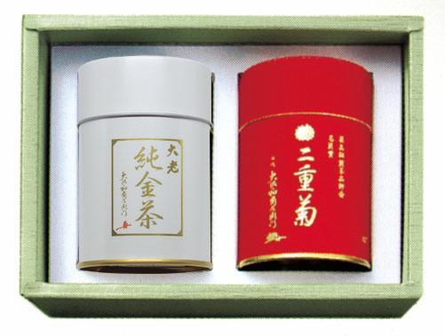 【冬のギフト 御年賀】濃煎茶二重菊缶と純金茶大老缶の詰合わせ