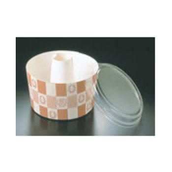 蓋付 シフォンカップ(50枚入)白 エンブレム格子柄 SC-841-A【業務用】【紙カップ】【製菓カップ】
