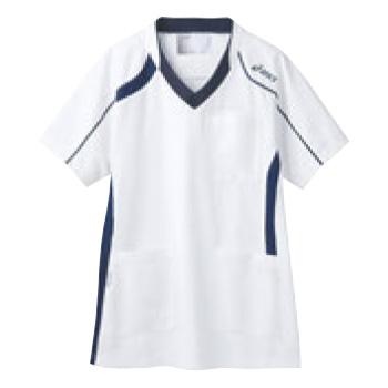 アシックス メディカルウェア CHM301-0109 ホワイト×ネイビー S【医療用ウェア】【医療用服】【医療用シャツ】