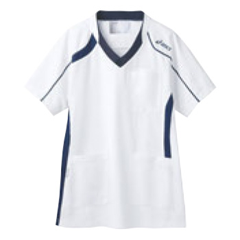 アシックス メディカルウェア CHM301-0109 ホワイト×ネイビー LL【医療用ウェア】【医療用服】【医療用シャツ】