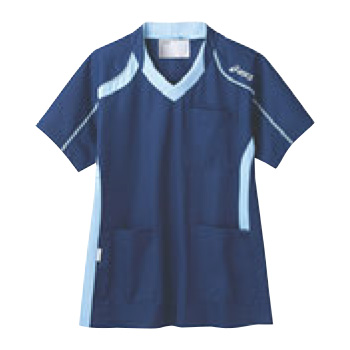 アシックス メディカルウェア CHM301-0403 ダークブルー×ペールブルー S【医療用ウェア】【医療用服】【医療用シャツ】