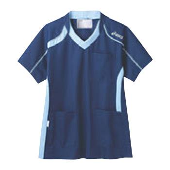 アシックス メディカルウェア CHM301-0403 ダークブルー×ペールブルー LL【医療用ウェア】【医療用服】【医療用シャツ】