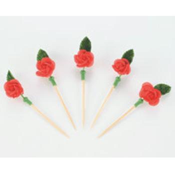 花楊枝(シルク製100本入)バラ【弁当用品】【爪楊枝】【つまようじ】