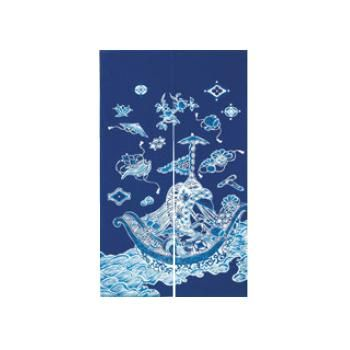 藍染めのれん 宝船 NID3115-BI【飲食店のれん】【暖簾】