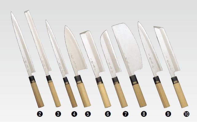 堺菊守 和包丁 銀3 鎌型薄刃(関西型) 210mm【庖丁 業務用ナイフ 和包丁】【水牛】【片刃】【業務用】
