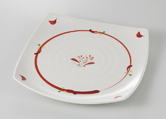 ■3個セット■赤絵丸紋 角9.0皿