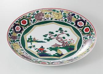 九谷絵(中国製) 尺2皿