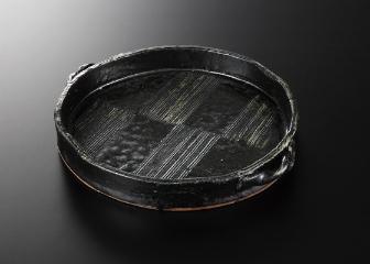 藍 釉 手造平鉢