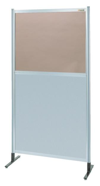 パーティション 透明カラー塩ビ(上) アルミ板(下)タイプ(単体) NAK-46NT【代引き不可】