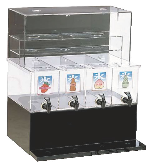 ジャスティNAシロップディスペンサー 4連 L 【代引き不可】【喫茶用品 かき氷用品】【かき氷】【業務用】