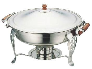 厨房用品ならOPENキッチン UK18-8木柄丸チェーフィングデッシュ 両手 本物◆ 131 2インチ 高品質 飾り台 業務用 スタンド