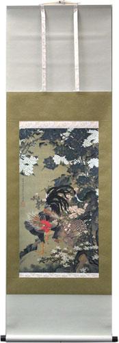 掛け軸『紫陽花双鶏図』伊藤若冲 インテリアに・贈答品・お祝いの品・長寿祝い・引越祝い・開業祝い・開院祝い・誕生日・新築祝い