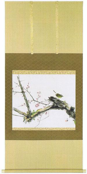 掛け軸『梅に鶯』竹内栖鳳