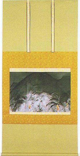 掛け軸『祇園夜桜』冨田溪仙