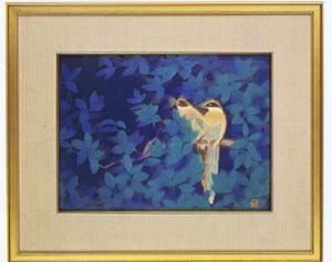 日本画・日本画家・平山郁夫『尾長鳥』6号シルクスクリーン・特別限定工藝画・贈答品・お祝いの品・長寿の祝い・引っ越祝い・開業祝い・開院祝い・誕生日・新築祝い