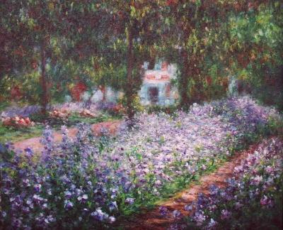 モネ『モネの庭、アイリス』高級肉筆再現画 10号(53.0×45.5cm)額付