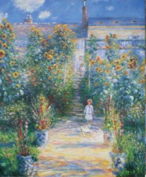 絵画クロード・モネ『ヴェトゥイユのモネの庭』高級肉筆再現画 10号(53..0×45.5cm)額付