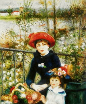 絵画ルノワール『2人の姉妹(テラスにて)』高級肉筆再現画15号(65.2×53.0cm)