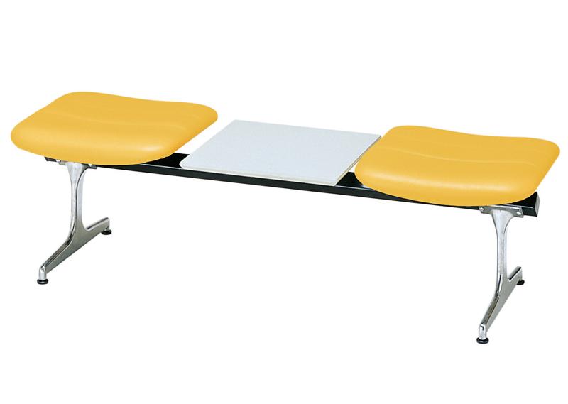 送料無料 新品 「合皮張り2人用コンビロビーチェア W1500mm」 ラウンジ ロビー 病院 銀行 待合室 2人用 合皮 天板付 6色あり