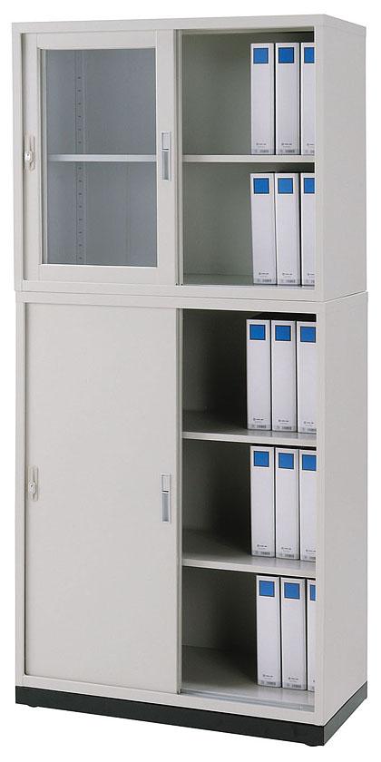 引き違い書庫 上下書庫 ユニット書庫 キャビネット 書棚 本棚 カギ付き