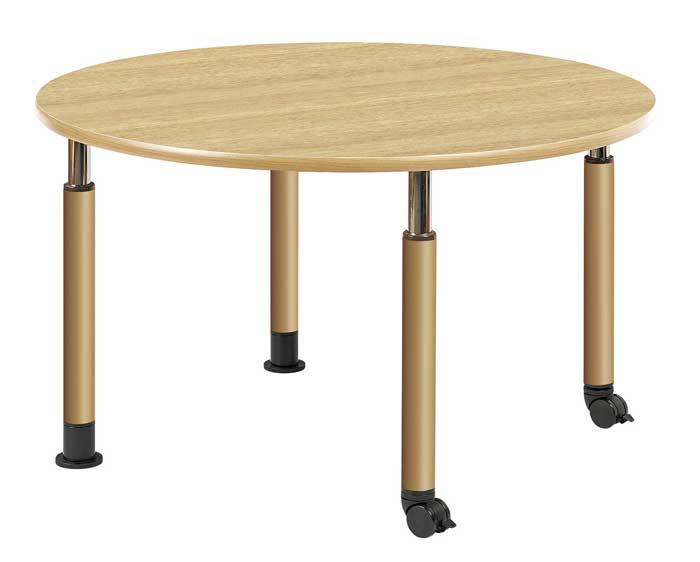 昇降テーブル 昇降式テーブル 2本キャスター脚・2本固定脚タイプ W1200×D1200 介護・福祉施設向け 2色あり