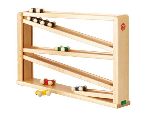 トレインカースロープ クネクネバーン・大 木のおもちゃ スロープ 転がる ベック社 木製 木のおもちゃ 出産祝い クーゲルバーン 知育玩具