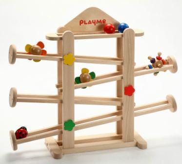 フラワーガーデン 木のおもちゃ スロープ ボール 木製 出産祝い クーゲルバーン 知育玩具 転がる