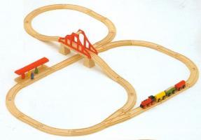 ミッキィ社 MICKI 汽車セットつり橋 (BRIOの車両1個サービス) 汽車セット 木製レール 木のおもちゃ 木製 汽車 レール 出産祝いお誕生日 送料無料 知育玩具