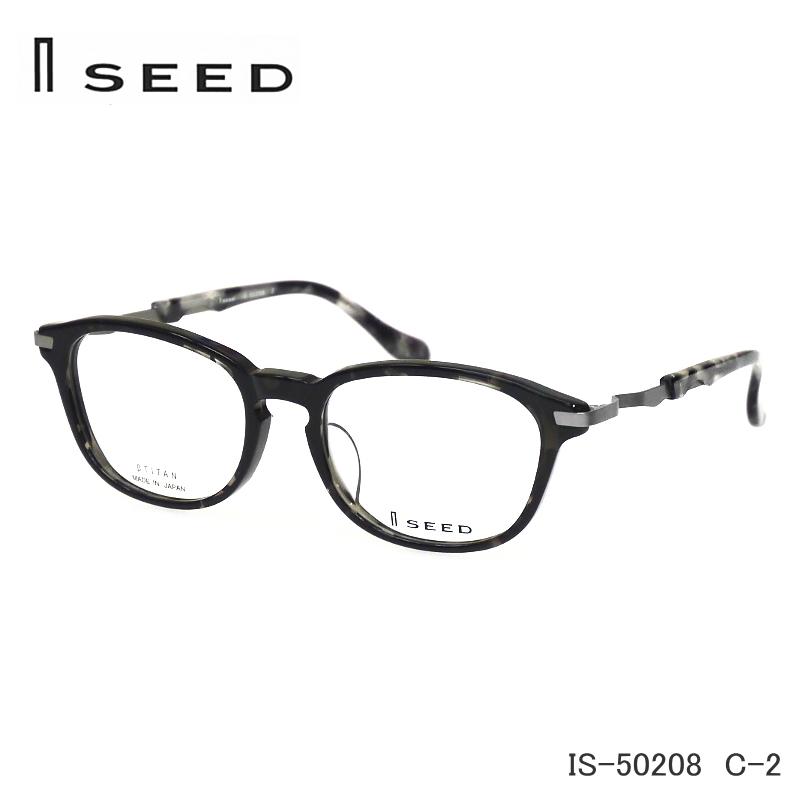 I SEED (アイ シード) 伊達眼鏡セット IS-50208 C-2 グレーデミ おしゃれなセル 度無し伊達メガネやPCメガネにも