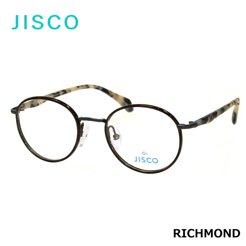 JISCO (ジスコ) RICHMOND BKBL べっ甲柄 ブラウンデミ ボストン・ラウンド型 伊達メガネ/度付/PCメガネなどに!