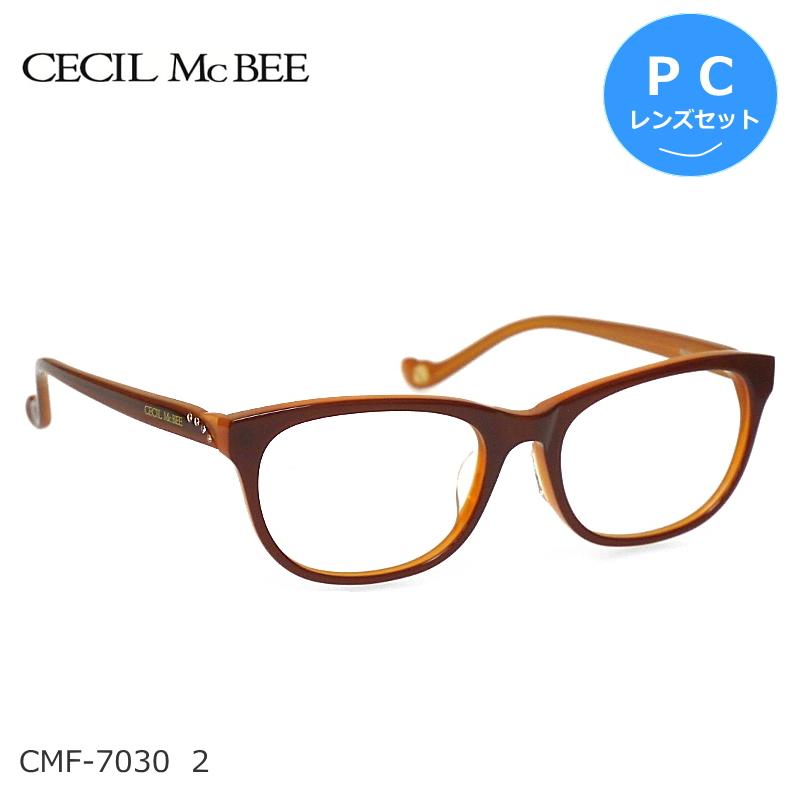 CECIL McBEE (セシルマクビー) ブルーライトカット PCメガネセット CMF-7030 2 ブラウン/オレンジ 度なし度付き対応 レディース