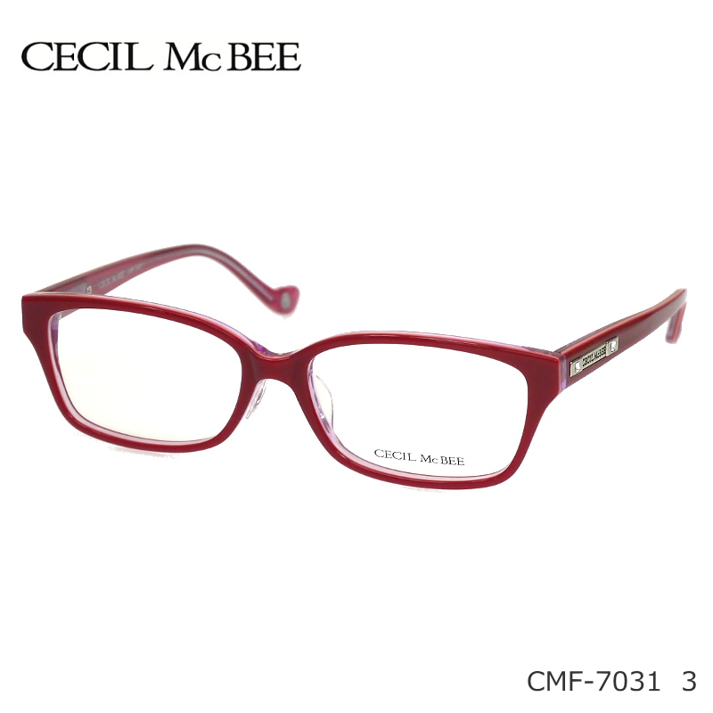 CECIL McBEE (セシルマクビー) 伊達眼鏡セット CMF-7031 3 レッド セル 度無し伊達メガネやPCメガネにも