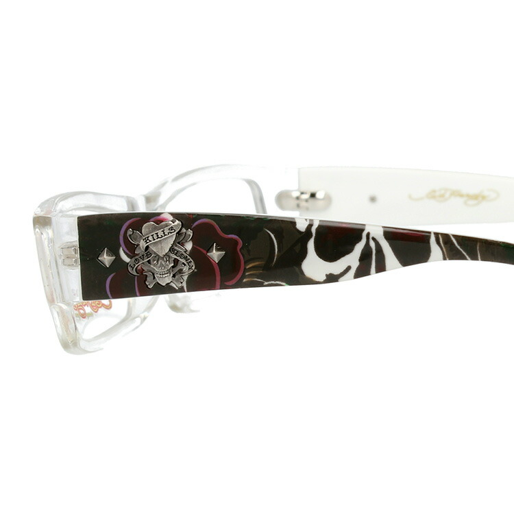 伊達メガネ PCレンズ無料 UVカット エドハーディー メガネフレーム レディース クリスタル 老眼鏡レンズ無料 EdHardy EHOA002 2 CRYSTAL リーディンググラス メンズ PCメガネ