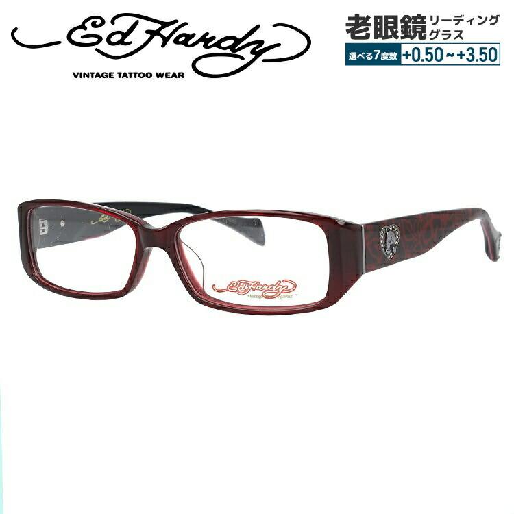 【選べる無料レンズ → PCレンズ・伊達レンズ・老眼鏡レンズ・カラーレンズ】 エドハーディー メガネフレーム EdHardy EHOA001 4 RED レッド メンズ レディース UVカット