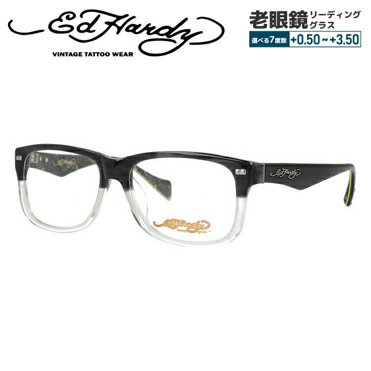 【選べる無料レンズ → PCレンズ・伊達レンズ・老眼鏡レンズ・カラーレンズ】 エドハーディー メガネフレーム EdHardy EHOA013 4 GREY CR グレークリスタル メンズ レディース UVカット