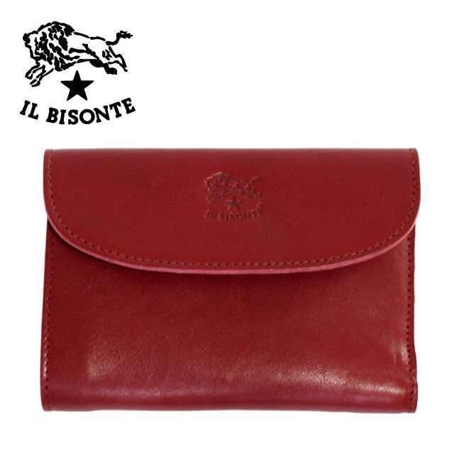 イルビゾンテ 財布 IL BISONTE 折り財布 C0972 P 245 Ruby red レッド 革 メンズ レディース wallet