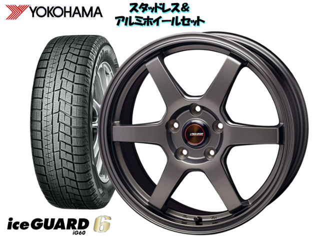 YOKOHAMA スタッドレス ice GUARD6 IG60 165/65R14 & J-TECH S-6 GM 14×5.5 100/4H + 45 トッポBJワイド H43A / H48A