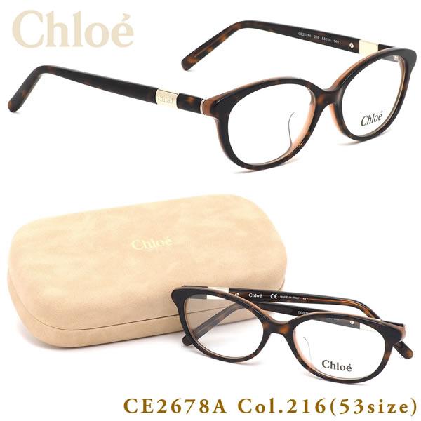 クロエ Chloe メガネCE2678A 216 53サイズオーバル キャッツアイ トータス べっ甲 メンズ レディース
