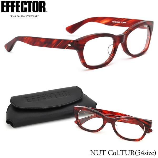 【EFFECTOR】エフェクター 眼鏡 メガネ フレーム NUT TUR 54サイズ エフェクター EFFECTOR NUT ナット セルロイド ウェリントン UVカット仕様伊達メガネレンズ付 日本製 メンズ レディース
