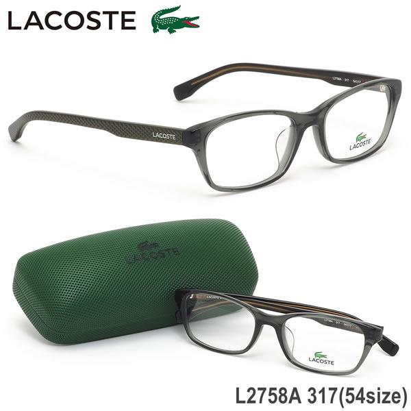 ラコステ LACOSTE メガネ L2758A 317 54サイズ ワニ クロコダイル アジアンフィット クリアダークグリーン メンズ レディース